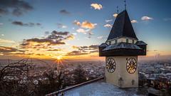 Uhrturm Winter (CHCaptures) Tags: uhrturm winter schlossberg graz styria austria morning sunrise sun snow cold goldenhour sony ilce7m2 voigtländer 15mm super wide angle lens outdoor city cityscape