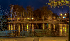 Gold Star Photo (tquist24) Tags: elkhart elkhartriver hdr indiana islandpark nikon nikond5300 bridge geotagged lights longexposure night reflection reflections starburst tree trees water winter unitedstates park