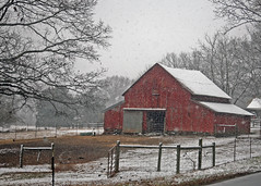 Red barn in snow - Anderson, S.C. (DT's Photo Site - Anderson S.C.) Tags: canon 5d classic 50mm 14 andersonsc rural barn country road rustic vanishing southern landscape farm