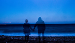 memories of a seaside walk (PDKImages) Tags: shadows ghosts love kiss beauty not there story looking memories waiting searching disappeared disappearing firstkiss lastkiss silhouettes hooded wishing monochrome sea coast waves blues blue lost palomarenaissance sky turkey