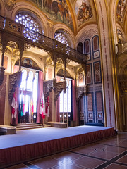 Museum hall with flags