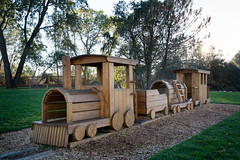 Wooden train at Quarry Park (City of Rocklin) Tags: rocklin placer county history park amphitheater picnic play nature quarry creek