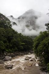 Crossing the Urubamba (isaac.borrego) Tags: uploadedviaflickrqcom river fog mist clouds forest mountains urubambariver andesmountains machupicchu peru canonrebelt4i southamerica water losandes