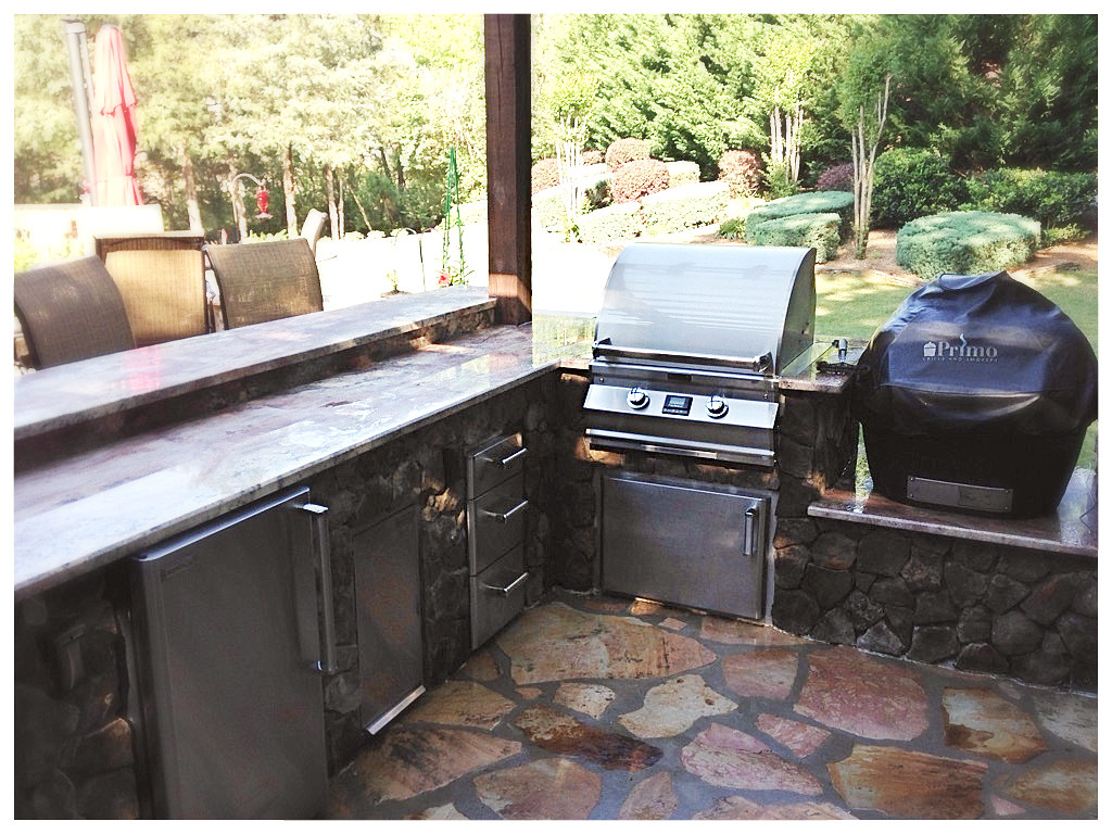 Custom Outdoor Kitchen with Fire Magic Grill and Primo. Tiftonia, Tn.