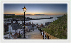 Whitby Steps sunset (Katybun of Beverley) Tags: sunset coast scenery village cottage steps coastal whitby coastline northyorkshire 199 cottages whitbysteps