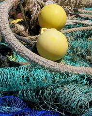 Mallorca April 2015 (Ellen Ribbe) Tags: blue orange yellow gelb blau mallorca netze balearen fischerei fishermansstuff