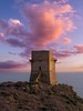Watchtower Monterosso (Blueocean64) Tags: italy italia sicily sicilia agrigento realmonte siculiana siculianamarina architecture tour tower sky ciel clouds nuages cloudy haze dusk partlycloudy tramonto sunset lapuestadelsol coucherdesoleil beauty sea mare mer mar hill mont paysage paesaggio landscape paisaje coastal seaside shore summer water seascape colline outdoor extérieur light twilight blue pink purple panasonic g5 美丽 艺术 摄影 日落 意大利 旅游 景观 天空