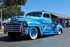 17th Annual Cruisin' for a Cure (USautos98) Tags: 1953 gmc pickuptruck traditionalhotrod streetrod kustom flames scalloppaint