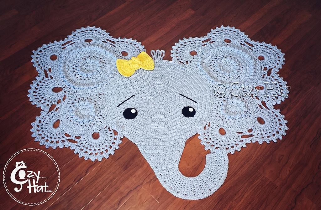 Elephant Rug Hand Crocheted By Cozy Hat (Anastasia Wiley) Tags:  Crochetelephantrug Rug Elephant
