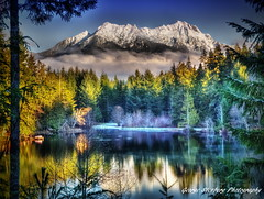 Serenity Lake (George Stenberg Photography) Tags: washingtonstate pacificnorthwest mtwashington mtelliinor olympicmountains snow trees lakestandstill lakecushman