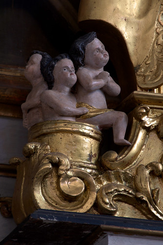 Hondschoote, Nord, Flandres, église Saint-Vaast, altar of saint Nick, detail