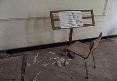 School's Out (Marian Smeets) Tags: schoolsout school urbex urbexexploring vervallen verlaten abandoned decay mariansmeets nikond750 2016 belgium belgie stoel chair