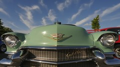 Green '56 Caddy with streaky blue sky - Shoppers' World cruise night, Brampton, Ontario (edk7) Tags: nikond300 sigma1224mm14556dghsmex edk7 2010 canada ontario peelregion brampton antiqueclassiccarclubofcanadaaccccbramptonregion bramptonstreetrods cruisenight shoppersworldbrampton car automobile vehicle auto classic vintage 1956cadillactwodoorhardtop cloud sky streak