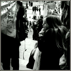 Uncertain (* RICHARD M (Over 6 million views)) Tags: street candid portraits portraiture streetportraits streetportraiture candidportraits candidportraiture mono blackwhite rally rallies womensrights antitrump feminism banners stgeorgeshall liverpool merseyside liverpudlians scousers merseysiders uncertainty unsure uncertain pensive limestreet bemused bemusment dumptrump england unitedkingdom uk greatbritain britain gb britishisles