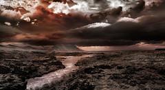 Sunset Over Lava Field (D'ArcyG) Tags: iceland lava volcano blackandwhite bw monotone unitone clouds landscape