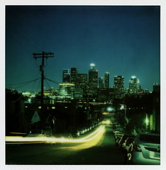 Beaudry Trails (tobysx70) Tags: california ca street blue toby 2 test color building tower film night project john polaroid sx70 for la office los twilight downtown nocturnal skyscrapers jeep angeles dusk hill north trails tip cameras hour type instant blocks headlight 20 hancock avenue gen residential pioneer generation dtla taillight highrises beaudry impossible usbank the gen2 dpw ferraro tobyhancock impossaroid