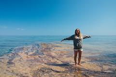 Sarah at Pictured Rocks (MichellePhotos2) Tags: summer lake beach water up nikon sandstone rocks michigan superior shore lakeshore upperpeninsula lakesuperior picturedrocks picturedrocksnationallakeshore twelvemilebeach 12milebeach d800e nikond800e