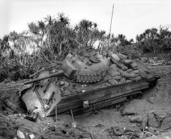 An M4 Sherman stuck in the volcanic sands of Iwo Jima (1945)