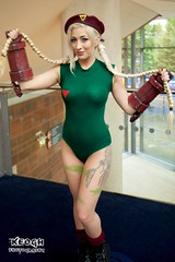 IMG_6665 (Neil Keogh Photography) Tags: red black green yellow soldier boots cosplay tattoos gloves blonde fishnets pigtails beret cammy streetfighter leotard assassin mcmcomicconmanchester2015