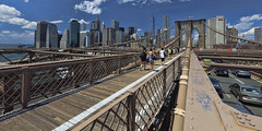 Brooklyn Bridge (William_Doyle) Tags: city newyorkcity blue sky people clouds photoshop manhattan august historic brooklynbridge freedomtower topazadjust topazclarity summer2015