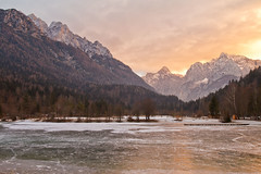 Mountain Sunset (Rae-J09) Tags: sunset lake slovenia kranjskagora lakejasna beautiful glow winter ice frozen