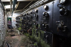 Abandoned Switchgear (Waving lights in the dark) Tags: abandoned derelict urbex switchgear peeling return recce stumbled industry industrial gauge gauges levers machinery decay decayed sheffield