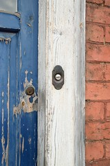 Peeling Paint (Ian Holmes TUP) Tags: peeling paint press door bell brick wood frame worcester blue white union lock texture abstract architecture text latch outdoor