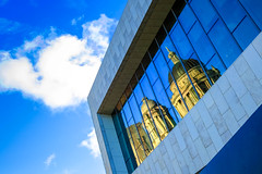 BRYAN_20161017_IMG_9488 (stephenbryan825) Tags: 3graces liverpool merseydocksharbouroffices museumofliverpool portofliverpoolbuilding architecture buildings dome reflection selects