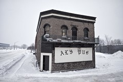al's pub (twurdemann) Tags: alspub architecture city detailextractor fujixt1 jamesstreet nikcolorefex ontario sky snow snowing storm tonalcontrast urban weather westend whiteneutralizer winter xf14mm