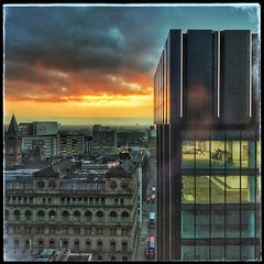 Awake City,morning is here.... (jim-green777) Tags: square 2017 january gb metropolis citycentre england britain uk cityscape skyline highrise sunrise morning manchester cameraphone mobile iphone7