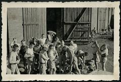 """Archiv K330 """"Auf Pfingstfahrt nach dem Waschen, Henning"""", 1930er (Hans-Michael Tappen) Tags: archivhansmichaeltappen drittesreich hitlerjugend hitlerjunge hitlerjungen sportler turner junge jungen boys boy nazigermany haarschnitt frisur körperpflege hygiene fotorahmen outdoor kamm kämmen 1930s 1930er scheitel seitenscheitel scheitelziehen pimpf pimpfe deutscherkoppelschnitt koppelschnitt koppelhaarschnitt wehrmachtsschnitt wehrmachtshaarschnitt scheitelfrisur seitenrasiert"""