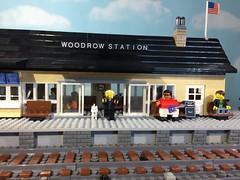 Train station MOC (woodrowvillage) Tags: lego legos mini figure minifigure moc train station news stand build block locomotive engine track rails railway travel america priest psycho