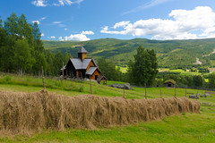 Country idyll in Uvdal (villeah) Tags: norway scenery architecture landscape uvdalstavechurch haypoles church uvdal buskerud no