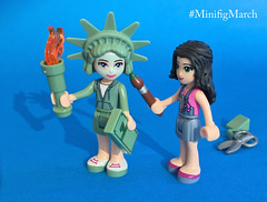 Getting Ready... (SuzEaton) Tags: minifigmarch minifigure minifig lego friends statue liberty activist protest america costume