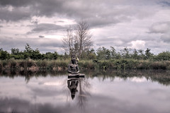 #26/52 Theme: Mirror Image  Category: Conceptual - Shiva (Agnieszka Malik) Tags: sky sculpture reflection clouds landscape mirror pond cowicklow roundwood indiansculpturepark