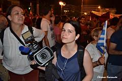 5//7/2015.          (Eleanna Kounoupa) Tags: people woman night no athens flags greece demonstrations reporters syntagmasquare      syriza     stphotographia