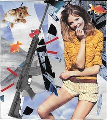 Happy AK 47 (oldschoolentreprise) Tags: fish cute girl beauty collage gold fantastic women weapon violence guns