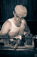 The wood turner (BS_Photographie) Tags: wood blackandwhite white black france work noir noiretblanc pentax former tradition craftsman turner job trade artisan bois ancien métier tourneur