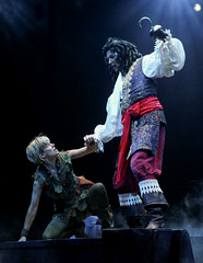 Jenn Colella as Peter Pan and Paul Schoeffler as Captain Hook in Peter Pan, produced by Music Circus at the Wells Fargo Pavilion July 21-26, 2015. Photo by Charr Crail.