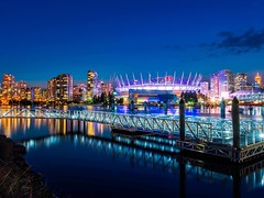 False Creek Bright Lights (Spencer Finlay) Tags: longexposure nightphotography reflection vancouver nikon downtown falsecreek vancity bcplace beautifulbc