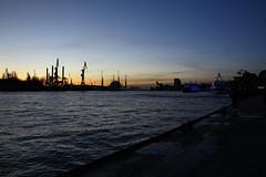 wo bist Du gewesen als die Nacht kam (raumoberbayern) Tags: hamburg hafen nacht night lights lichter robbbilder dock port kran crane werft shipyard