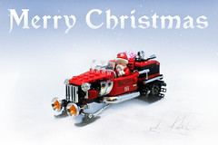 Merry Christmas! (Vaionaut) Tags: lego christmas santa sleigh hotrod snowmobile motorsled sled
