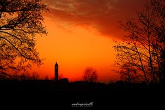 Fire sky (andreaprinelliphoto) Tags: andreaprinelliphoto andreaprinelli prinelli sky cielo winter inverno tramonto sunset crepuscolo sun chiesa campanile belltower tree alberi rosso red