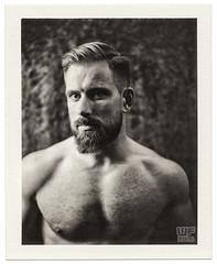 Polaroid B&W - new website online!  check link below (WF portraits) Tags: man male studio polaroid fp3000b fuji fujifilm naked nude chest hairy beard blonde model fitness muscles gym blackandwhite 600se cze
