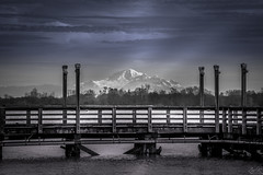 Spotlight (Žèę Ķ) Tags: bc canada landscape mtbaker mountbaker washington usa blackandwhite greyscale fence pier morninglight spotlight snow peaks water ocean volcano sea seascape clouds sky monochrome fencedfriday