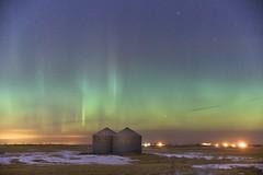 February winter night sky (John Andersen (JPAndersen images)) Tags: aurora calgary farm february granary night sky stars