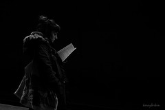 On the subway (K.BERKİN) Tags: subway read book blackwhite streetphoto woman black reading books cold station people sonyalpha sony6300