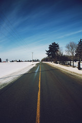 crooked road (viewsfromthe519) Tags: winter snow london ontario canada sunny blue sky clouds barn shed farm field road trees nature skyscape