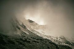 Sky fall (Tomasz Mikrut - Photography) Tags: tatry mountains foggy poland polska góry canon eos5 analog fujifilm pro400h pro f40 70mm 200mm hills 35mm film analogue fuji misitical misty rainy atmosphere fujifilmpro400h canonef70200f40 canoneos5analog outdoor mist landscape usm cloud sky peak