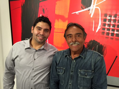 Gallery director Manuel Diaz with Venezuelan artist Jose Paez del Nogal during Jose's opening at the Diaz Canale gallery